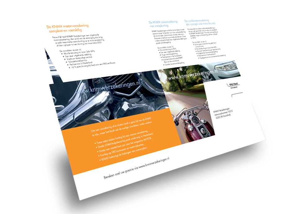 Marketing folder voor KNMV Motorverzekering