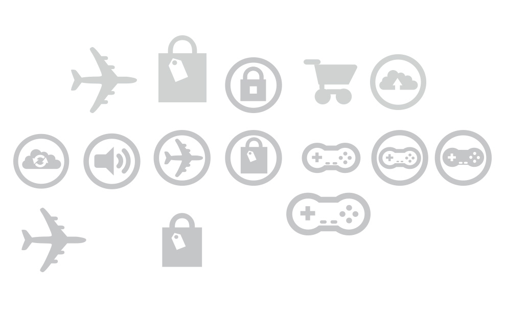icons voor e-commerce retail, music, travel en gaming software