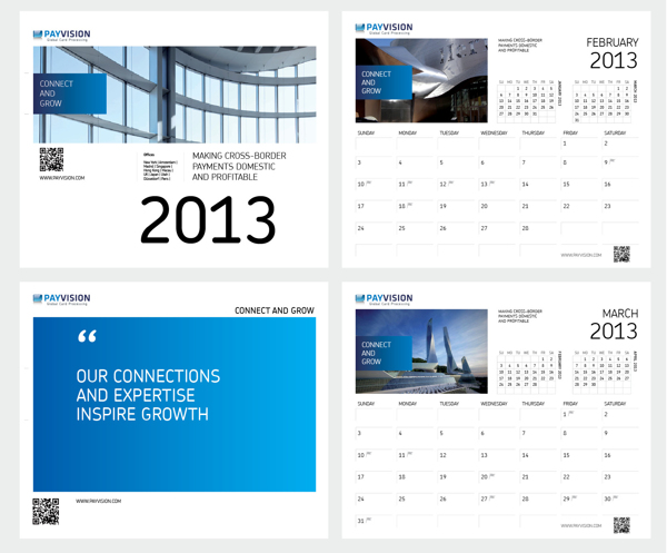 Kalender ontwerp Connect and Grow / Calendar design visual identity Payvision